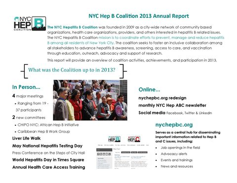 2013 Hep B Coalition Annual Report