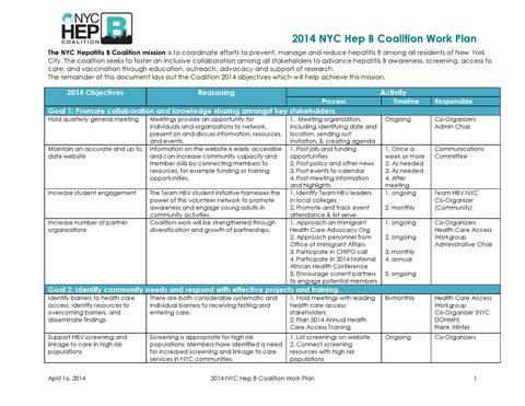 2014 NYC Hep B Coalition Work Plan