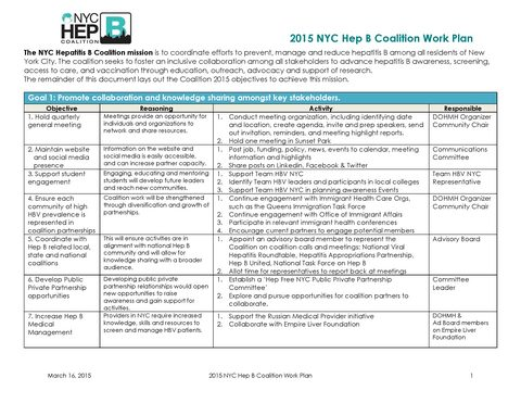 2015 NYC Hep B Coalition Work Plan