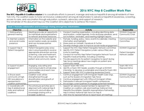 2016 NYC Hep B Coalition Work Plan