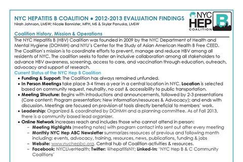 NYC Hep B Coalition 2012-2013 Evaluation