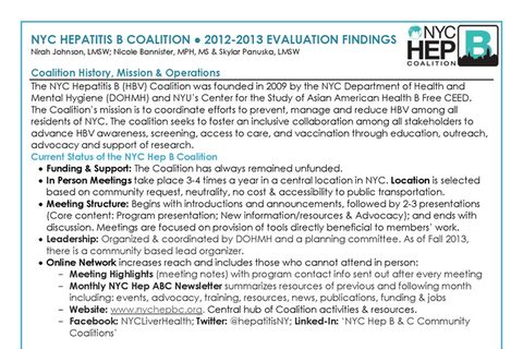 NYC Hep B Coalition 2012-2013 Evaluation