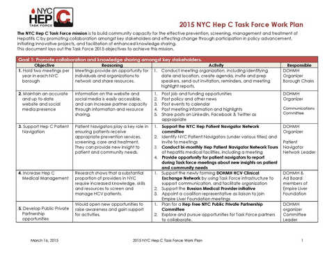 2015 NYC Hep C Task Force Work Plan